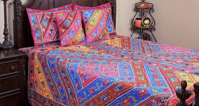 Aari Elephant Embroidered Multicolor Duvet Ethnic Indian