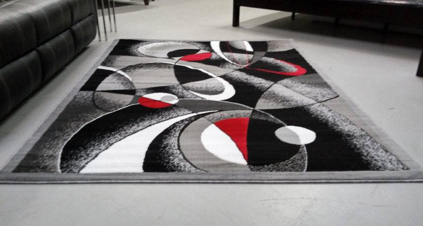 Abstract Contemporary Red Black White Gray Area Rug Modern