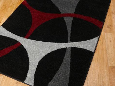 Abstract Tones Rugs Black Red Grey