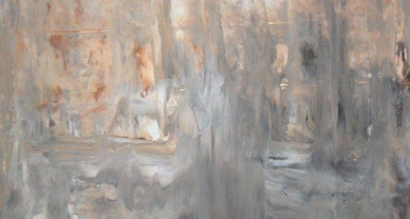 Acrylic Abstract Art Painting Brown Grey White Beige