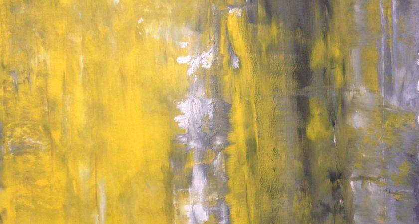 Acrylic Abstract Art Painting Grey Yellow White Modern