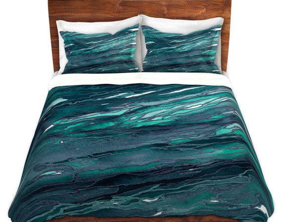 Agate Magic Dark Teal Blue Green Art Marble Duvet Covers King