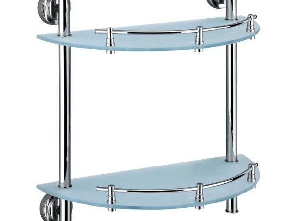 Alberta Double Rounded Corner Glass Shelf
