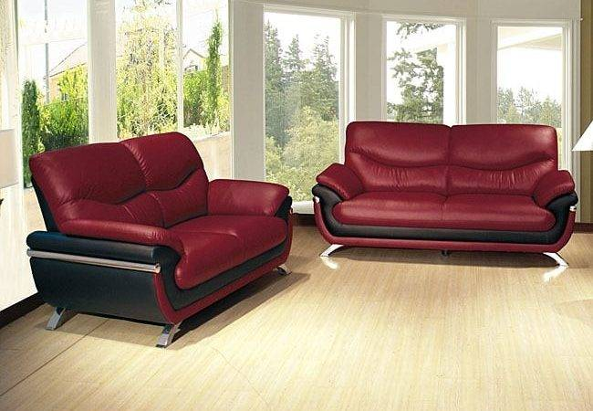Alicia Red Black Two Tone Modern Sofa Loveseat Set
