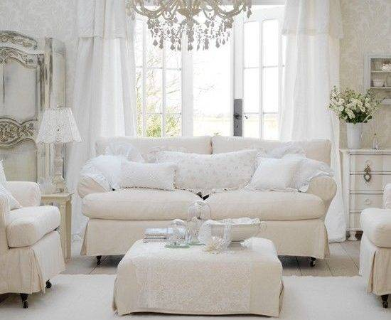All White Shabby Chic Living Room Photos