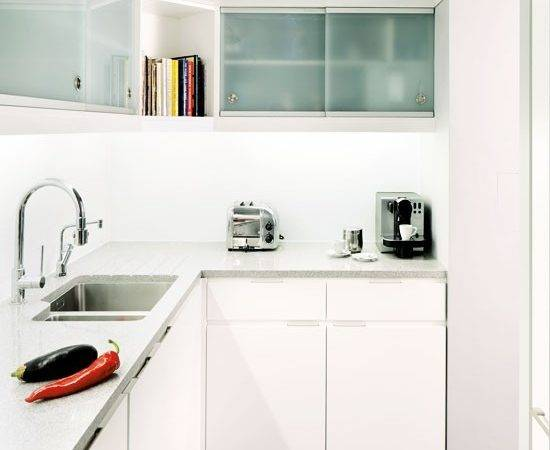 All White Shaped Fitted Kitchen