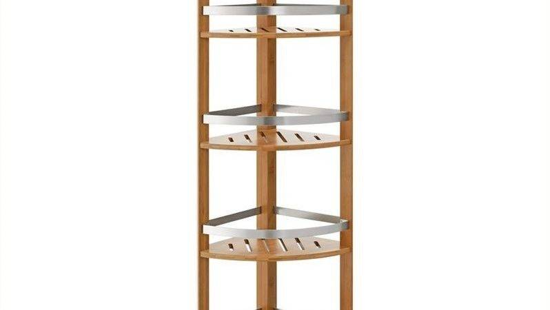 Altra Furniture Bamboo Bathroom Corner Tower Shelves