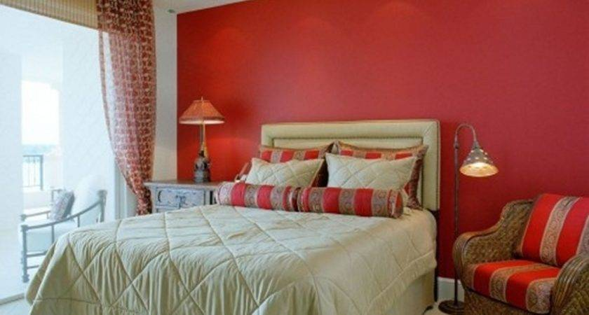 Amazing Bedroom Decor Red Wall Paint Brown