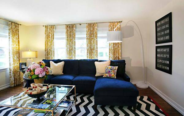 Amazing Blue Black White Yellow Living Rooms Home