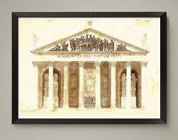 Ancient Greek Architectural Drawing Art Print Nice Home