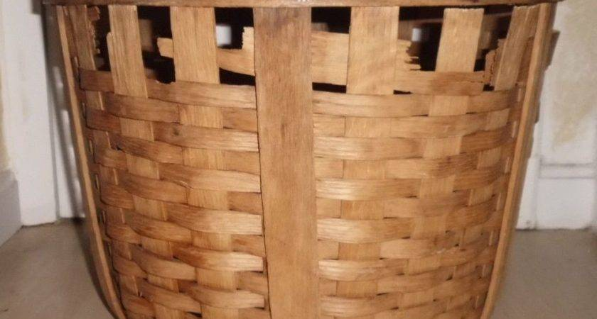 Antique Hand Made Oak Weave Woven Round Large Primitive