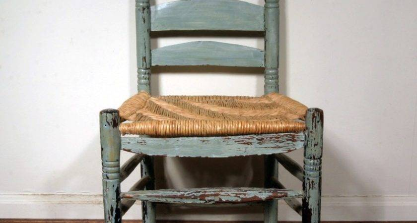 Antique Ladder Back Wooden Chair Distressed Finish Ebth