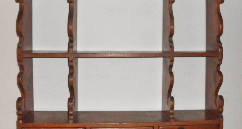 Antique Primitive Wooden Country Pine Wall Shelf