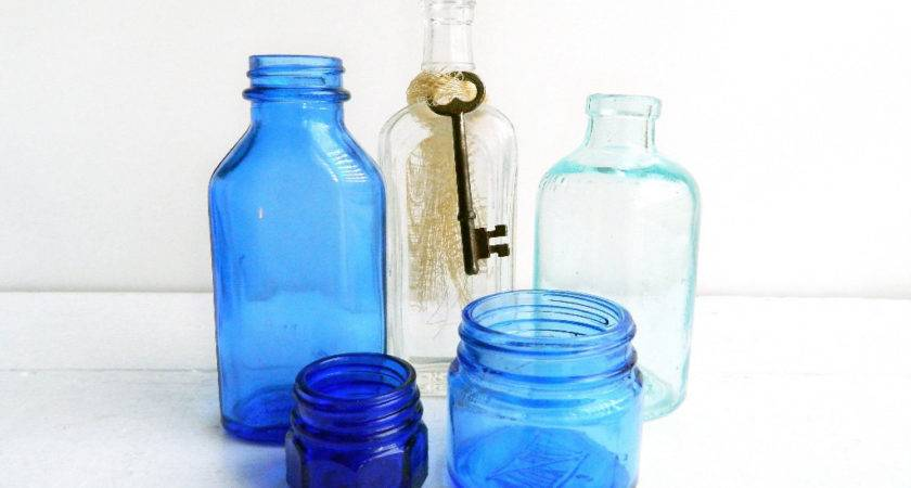 Antique Small Apothecary Bottle Collection Clear Seafoam