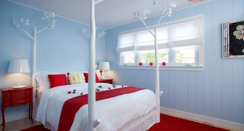 Appealing Bedroom Decoration Red White Pillows