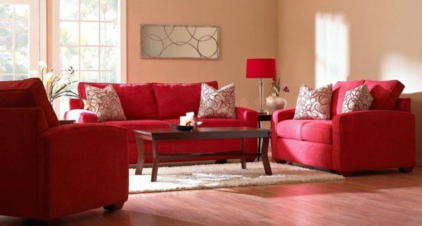 Appealing White Red Living Room Interior Themes