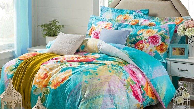Aqua Blue Yellow Abstract Classic Country Floral