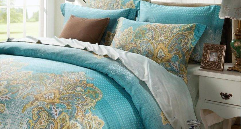 Aqua Blue Yellow Western Paisley Personalized