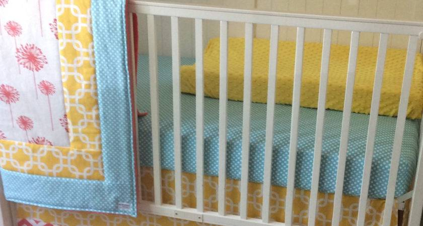 Aqua Coral Yellow Crib Bedding Set Butterbeansboutique