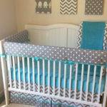 Aqua Gray Bumperless Crib Bedding Set
