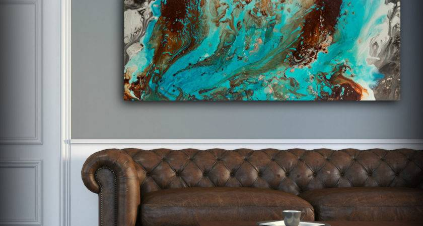Aqua Print Blue Brown Wall Art Decor Colourful Bohemian
