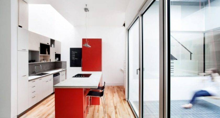 Architecture Powerful Kitchen White Red Design