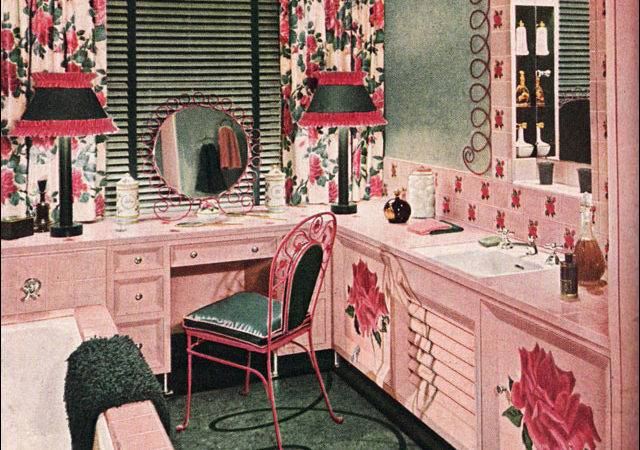 Armstrong Bathroom Pink Green Mid Century Style