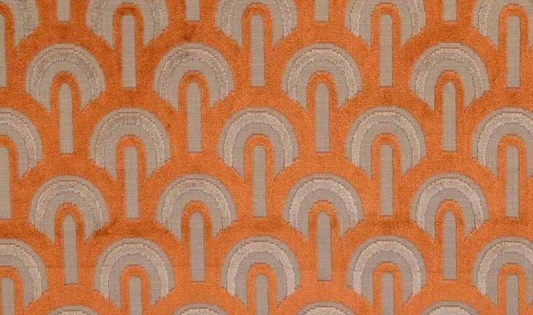 Art Deco Arches Orange Figured Velvet Fabric