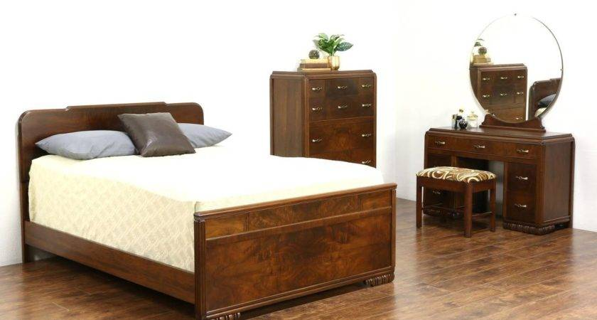 Art Deco Vintage Walnut Burl Bedroom Set