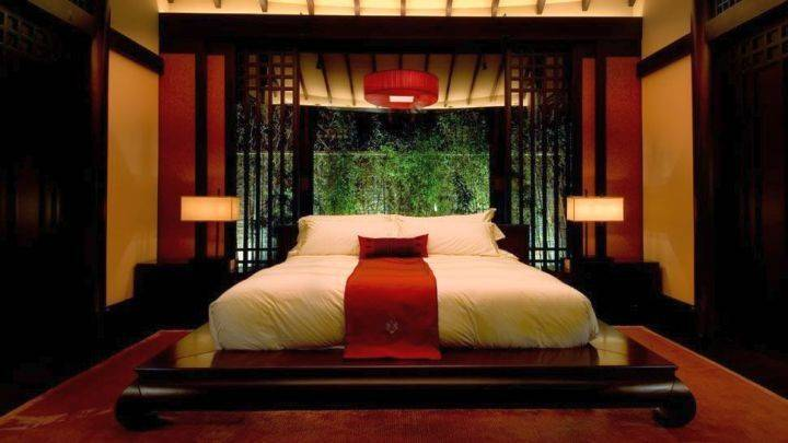 Asian Style Red Black Bedroom