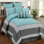 Aspen Aqua Blue Smoke Gray Quilted Comforter Bed