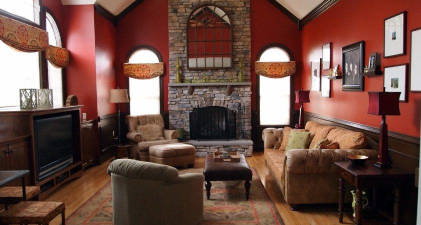 Astounding Red Brown Living Room Design Using