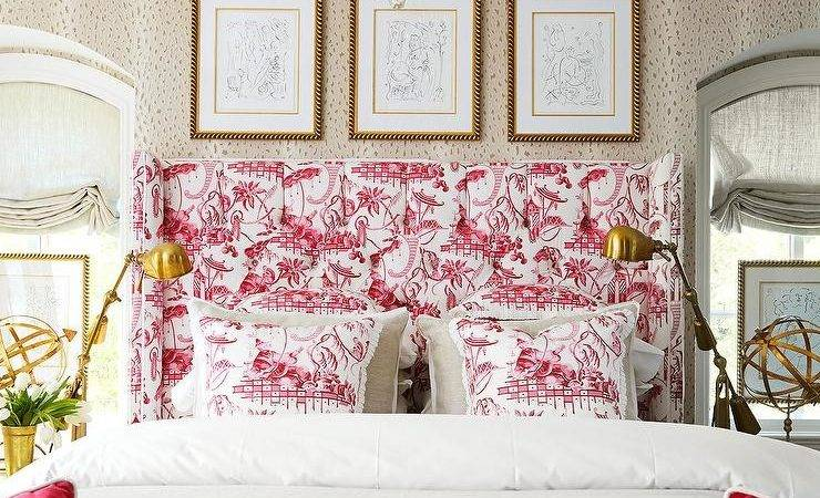 Awesome Chic Bedroom Decor Features Pink Toile Headboard