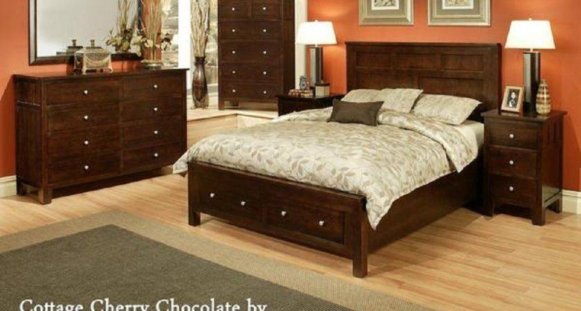 Ayca Cottage Solid Cherry Panel Bedroom Set Chocolate