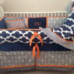 Baby Bedding Crib Set Navy Blue Orange Grey Gray Arrow