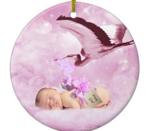 Baby Girl Pink Clouds Stork Christmas Ornament Zazzle