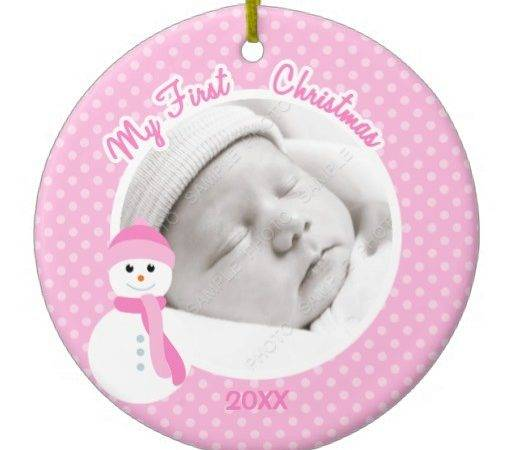 Baby Girl Pink Snowman First Christmas