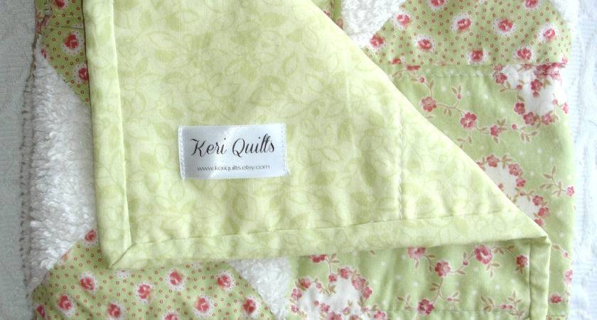 Baby Girl Shabby Chic Chenille Mint Green Quilt