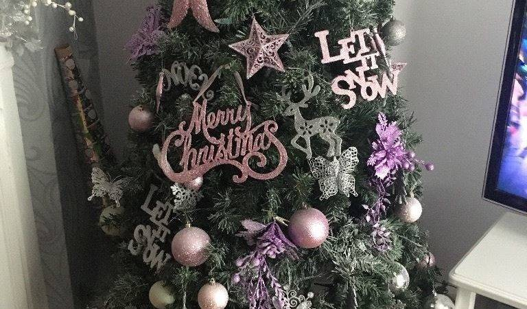 Baby Pink Silver Christmas Tree Decorations Liverpool