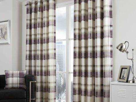 Balmoral Tartan Check Lined Eyelet Curtains Cotton Grey