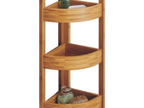 Bamboo Corner Shelf Tier Standing Shelves