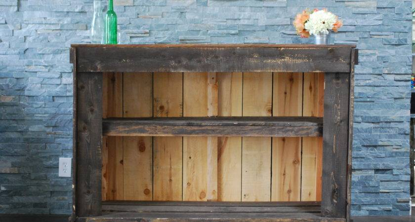 Bar Foot Rustic Wood Back Shelving Platinum