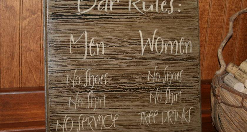 Bar Sign Rules Pub Decor Man Cave Funny