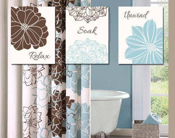Bathroom Decor Wall Art Canvas Prints Blue Brown