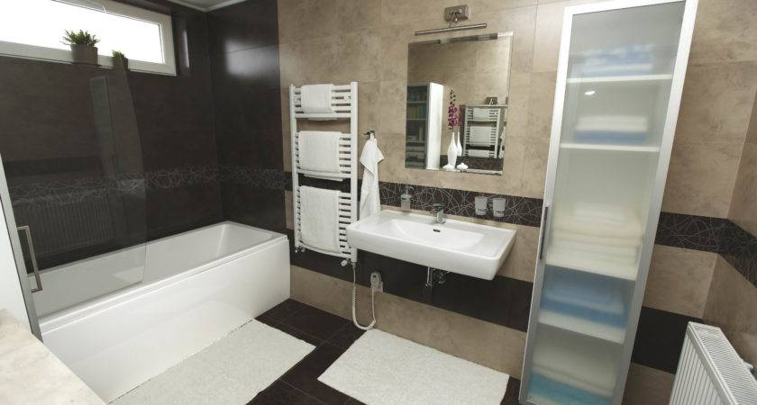 Bathroom Decoration Ideas Brown Grey Tile Waplag