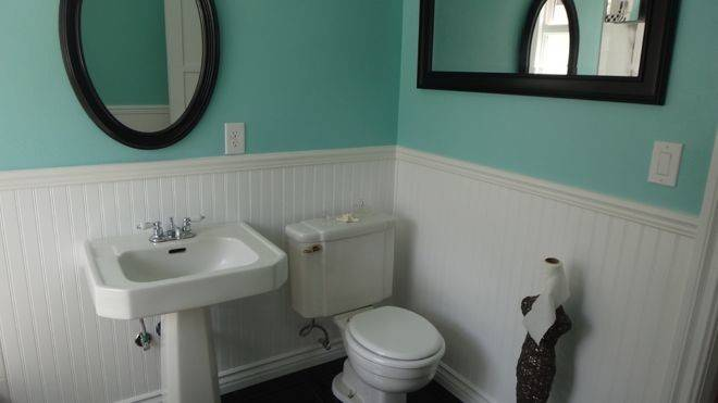 Bathroom Remodel Old Yellow New Blue Black