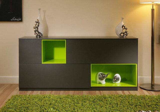Beautiful Dining Room Sideboard Buffet Gray Lime Green