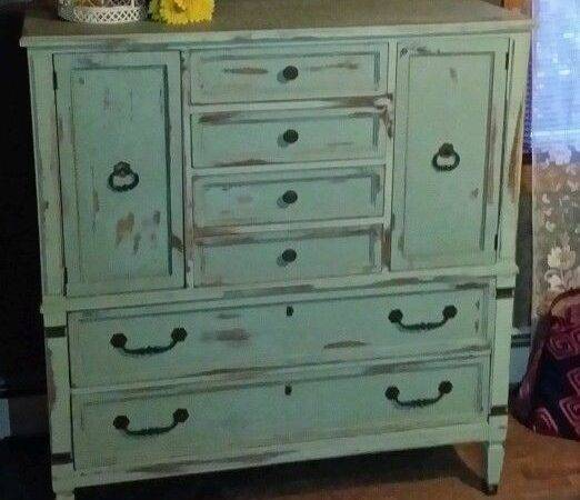 Beautiful Green Blue Distressed Shabby Chic Armoire Server