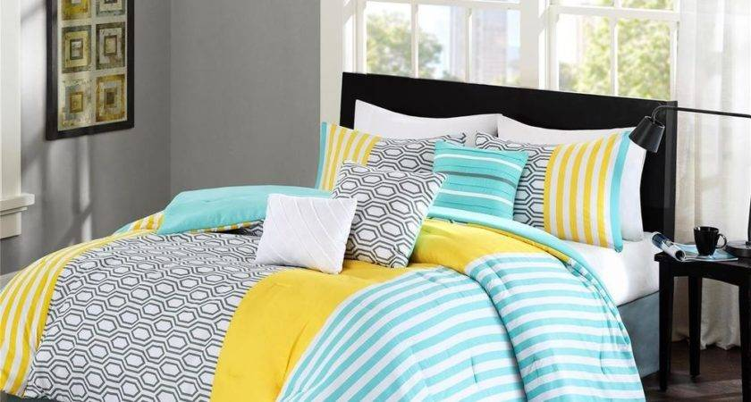 Beautiful Modern Blue Aqua Grey Yellow Geometric Comforter