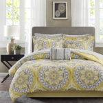 Beautiful Modern Tropical Exotic Bed Bag Yellow Grey